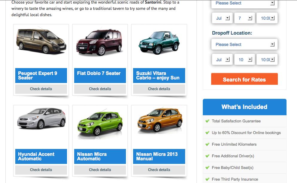 Santorinicarhire.com Cars Page