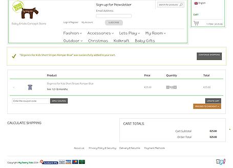MyTeenyTots.com Cart Page